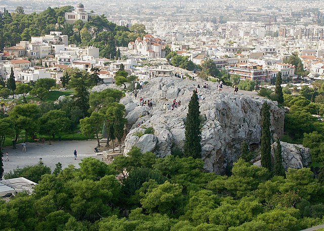 Areopagus from the Acropolis in Greece