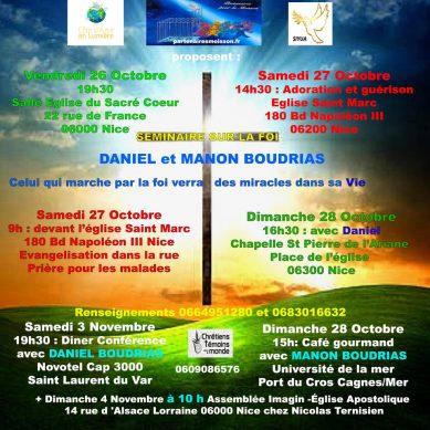 Séminaire sur la Foi – Invités l'Apôtre Daniel BOUDRIAS et l'Évangéliste Manon BOUDRIAS